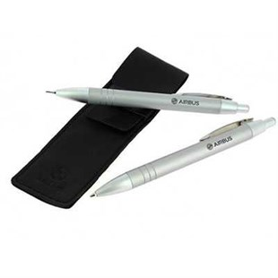 Metal Ballpoint And Pencil Set With Leather Case